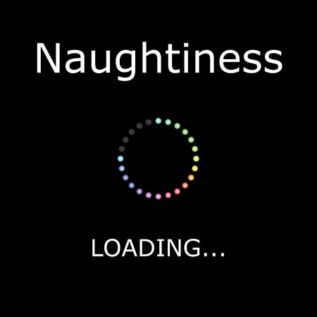 positiveness: A LOADING Illustration with Black Background - Naughtiness Stock Photo