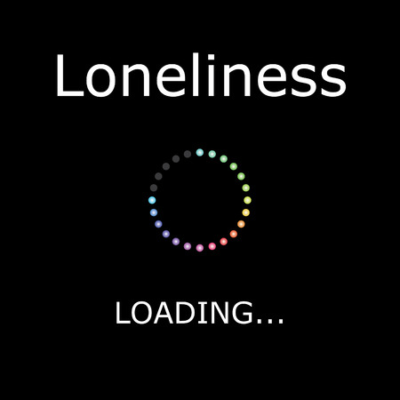 lonliness: A LOADING Illustration with Black Background - Lonliness