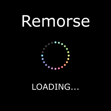 remorse: A LOADING Illustration with Black Background - Remorse Stock Photo