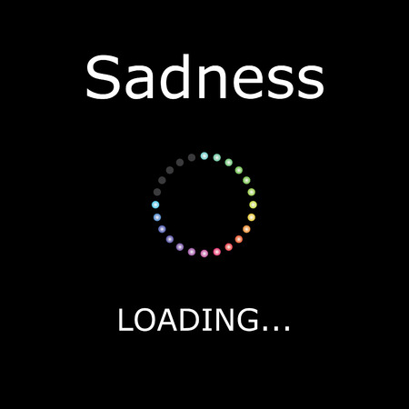 positiveness: A LOADING Illustration with Black Background - Sadness Stock Photo