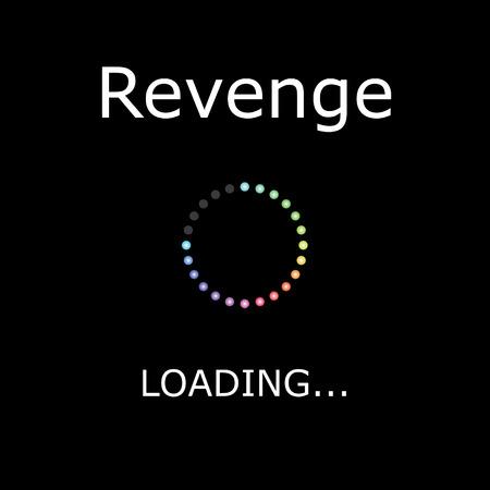 venganza: Una Ilustraci�n CARGA con Fondo Negro - Revenge Foto de archivo