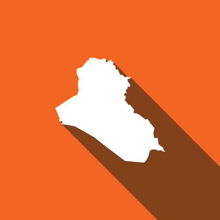 opaque: Long Shadow with the shape of the Country of Iraq Stock Photo