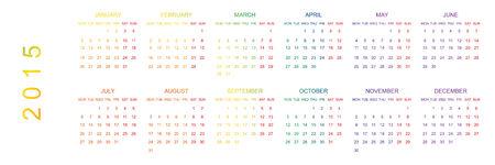 planner: 2015 Rainbow Planner Calendar Stock Photo