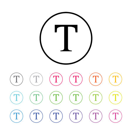 text tool: Icon Illustration with 18 Color Variations - Text Tool Stock Photo