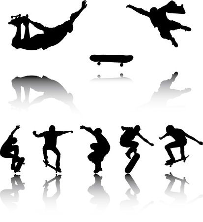An Illustration of Silhouettes of Skateboarders with reflection illustration