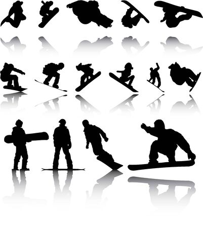 An Illustration of Silhouettes of Snowboarders with reflection illustration