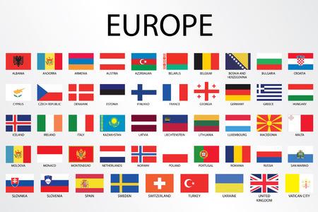 Banderas alfabético del país para el continente Foto de archivo - 30736111