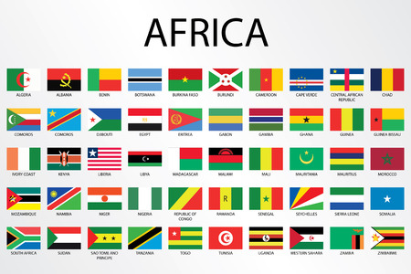 의 대륙에 대한 알파벳 국가 플래그