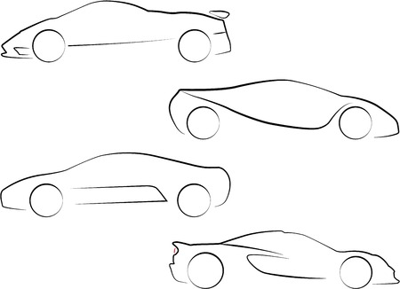 An Illustration of Outlines of Cars Vector