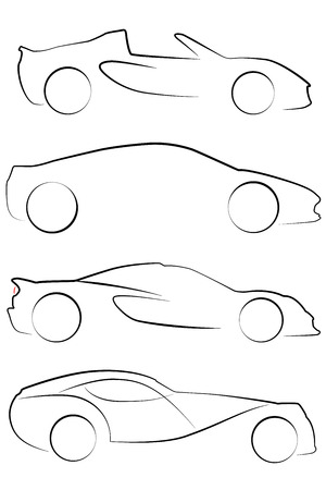 An Illustrated outline of Cars on white background Vector