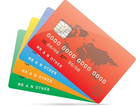 An Ilustration of Credit Cards in Different Colours on White Background 向量圖像