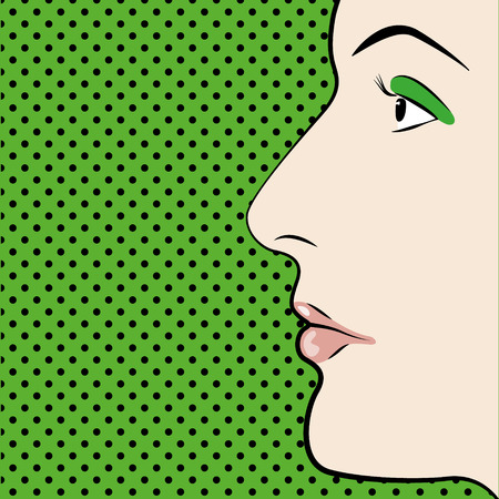 An Illustration of Pop art style womans face with space for text Illustration