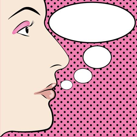 blab: Un'illustrazione di Pop womans stile arte faccia con spazio per il testo