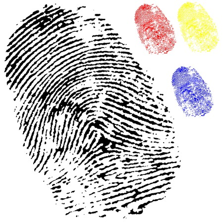 black isolated fingerprint on white background with other colours
