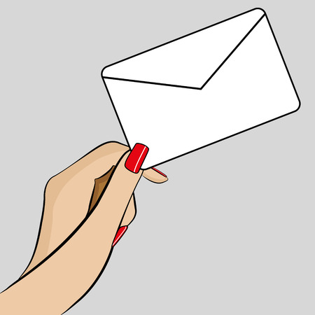 An Illustration of Womans hand holding a business card  イラスト・ベクター素材