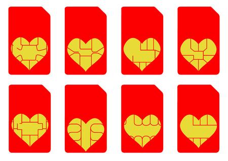 An Illustration of Love Heart SIM Cards Vector