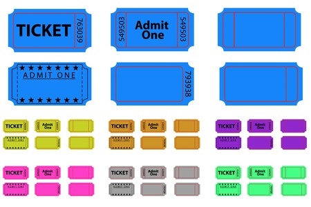 Various illustrated tickets set in different colours Ilustração