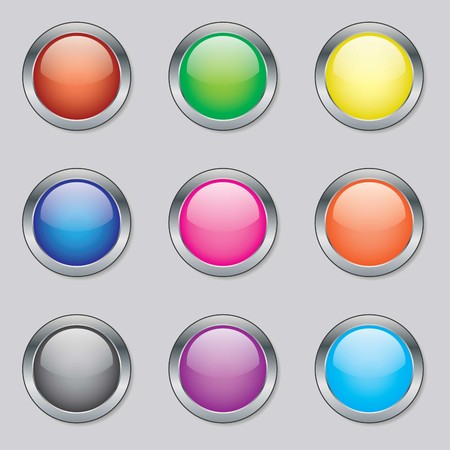 Round Web Buttons in a Selection of Various Colours Illustration