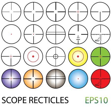 night vision: Illustrated crosshairs set including colour reticles and night vision Illustration
