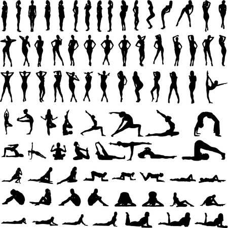 Een illustratie van de set van sexy vrouwen silhouetten