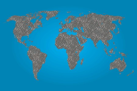 A Map of the world filled with a Elephant pattern Vector