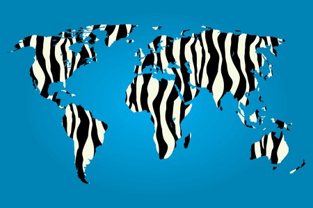 illustrated globe: A Map of the world filled with a Zebra pattern