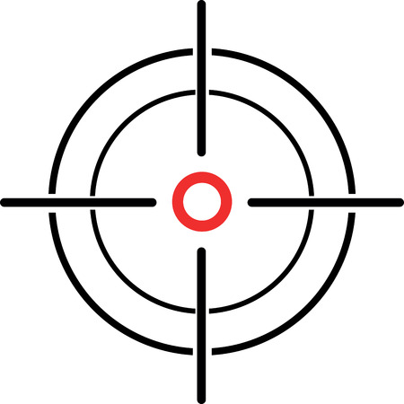 gun sight: An Illustration of a crosshair reticle on a white background