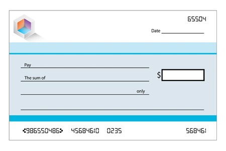 cheque: An Illustration of a blank bank cheque Stock Photo