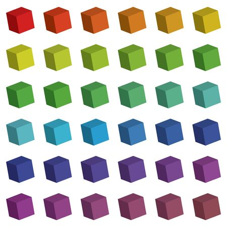 An Illustration of 3D Cube Colour Swatches Vector
