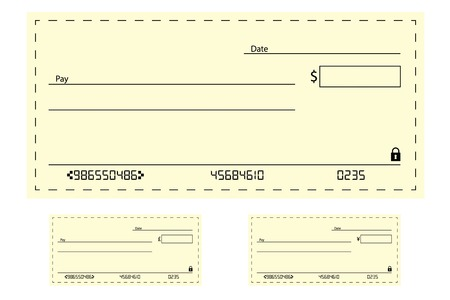 An Illustration of a blank bank cheque Illustration