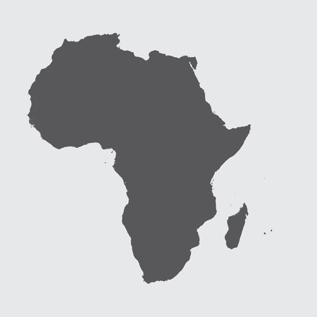 A Grey Illustration of the outline of the continent of Africa Vector