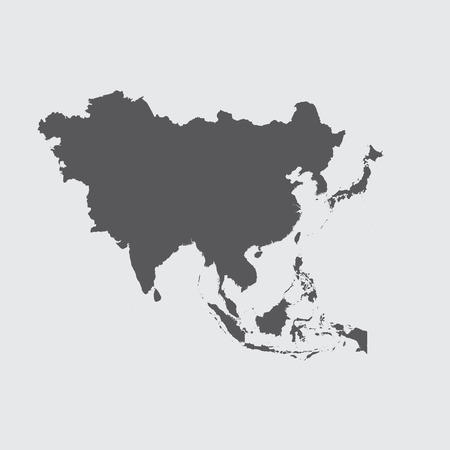 A Grey Illustration of the outline of the continent of Asia Ilustração