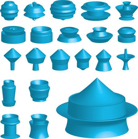An Illustration of various 3d shapes on white background illustration
