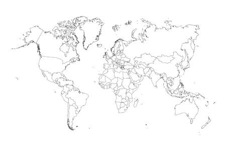 europa: An Illustration of very fine outline of the world (with country borders) Stock Photo