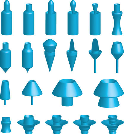 An Illustration of various 3d shapes on white background
