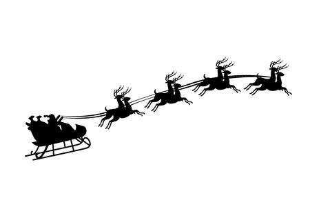 trineo: Una ilustración de Santa Claus montado en un trineo con arnés en el reno