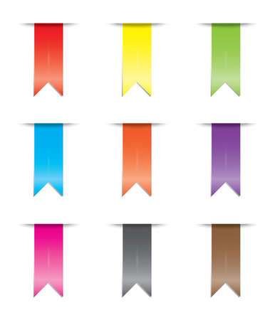 greeen: An Illustration of a coloured ribbon set Stock Photo