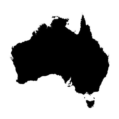 2d map: An Illustration on isolated background of the continent of Australia