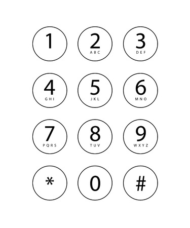 An Illustration of a phone keypad for a touchscreen device