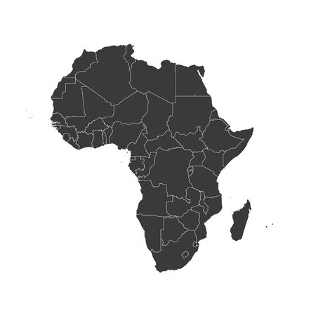 2d map: An Outline on clean background of the continent of Africa