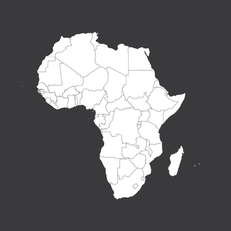 An Outline on clean background of the continent of Africa