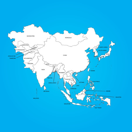 An Outline on clean background of the continent of Asia Illustration
