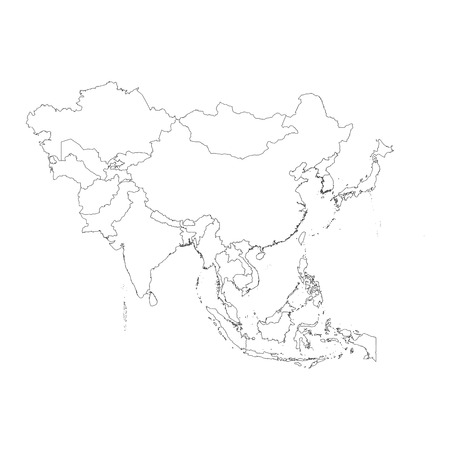 2d map: An Outline on clean background of the continent of Asia Illustration