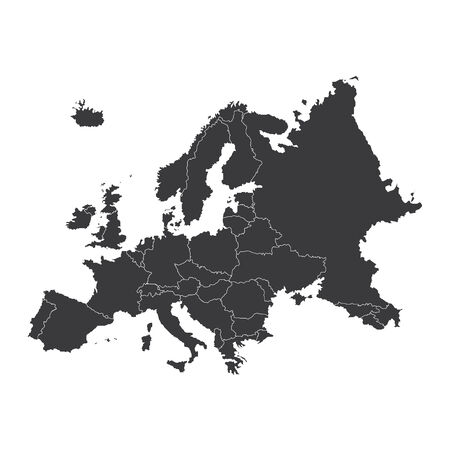 2d map: An Outline on clean background of the continent of Europe