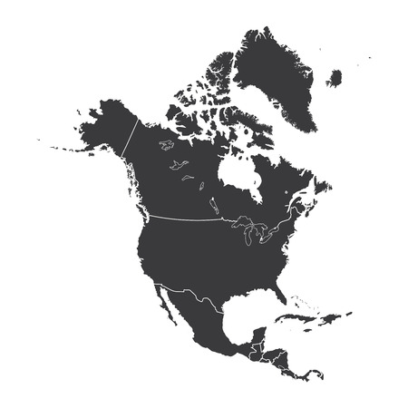 An Outline on clean background of the continent of North America Ilustração