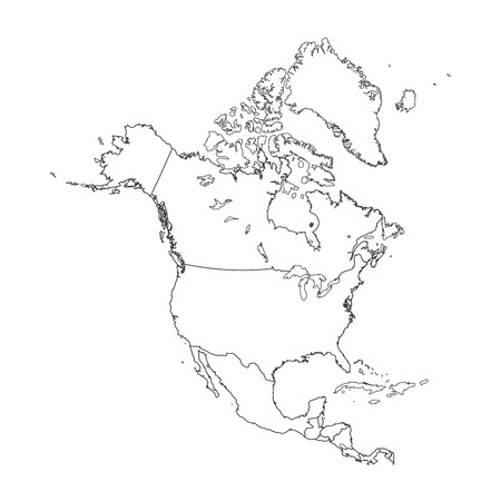 2d map: An Outline on clean background of the continent of North America Illustration