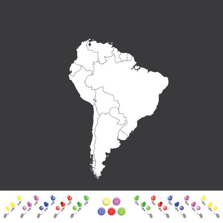 2d map: An Outline on clean background of the continent of South America