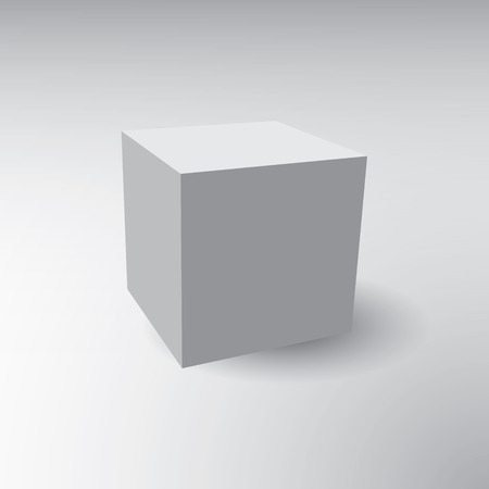 An Illustration of a 3D cube on a grey background Vector