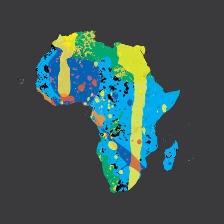 colourfully: Am Illustration of a colourfully filled outline of Africa