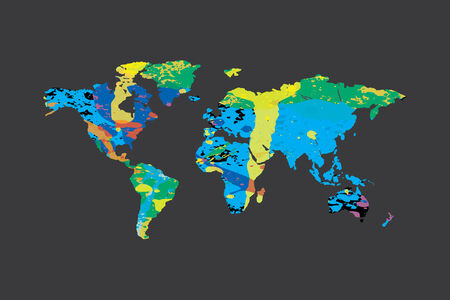 colourfully: An Illustration of a colourfully filled outline of the world